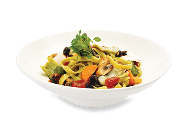 Fettucine with vegetables and tomatoes
